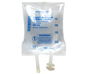Practi-Dextrose Normal Saline™  250 mL I.V. Solution Bag (for training) 281DN